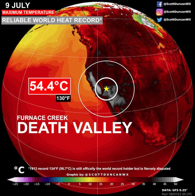 54,4°C dans la Vallée de la mort : nouveau record de chaleur mondial