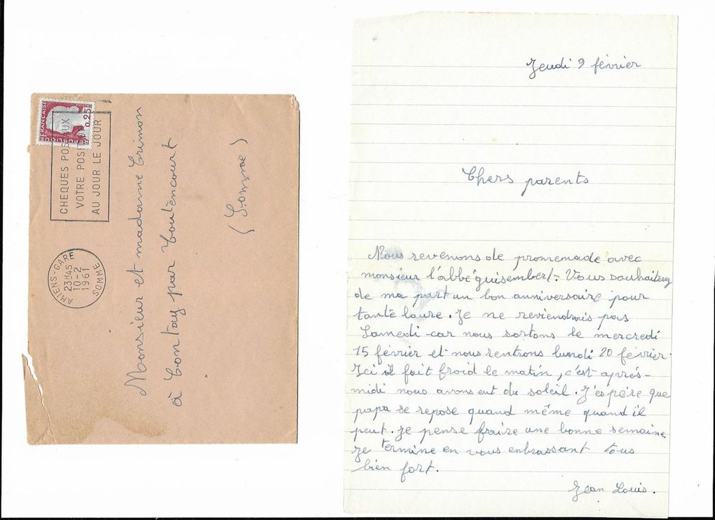 Amiens. Lettre à mes parents du 9 Février 1961. © Jean-Louis Crimon