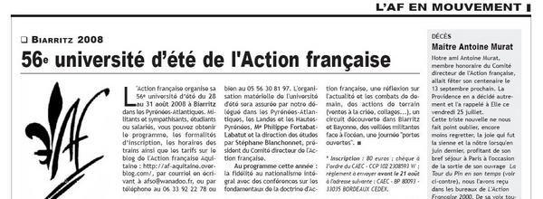 """Dans un but de formation intellectuelle en ligne, la Fédération met à la disposition de ses militants un certain nombre de textes qui, parus dans """"L'Action Française 2000"""", donnent une vue exacte des doctrines du nationalisme intégral."""
