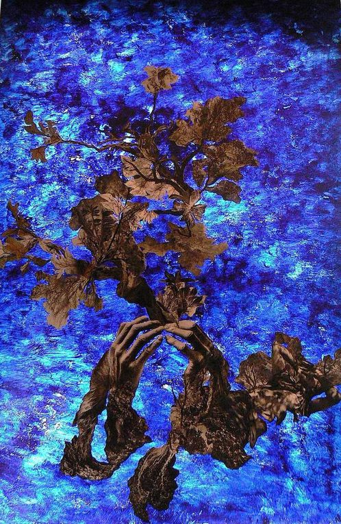 Peinture-collage sur plexiglas (60 x 90)