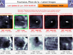 Piton de la Fournaise - thermal anomalies on 12.06.2019 / 6:05 / disturbances due to cloud cover in addition to fluctuations in activity - Doc. Mirova - one click to enlarge