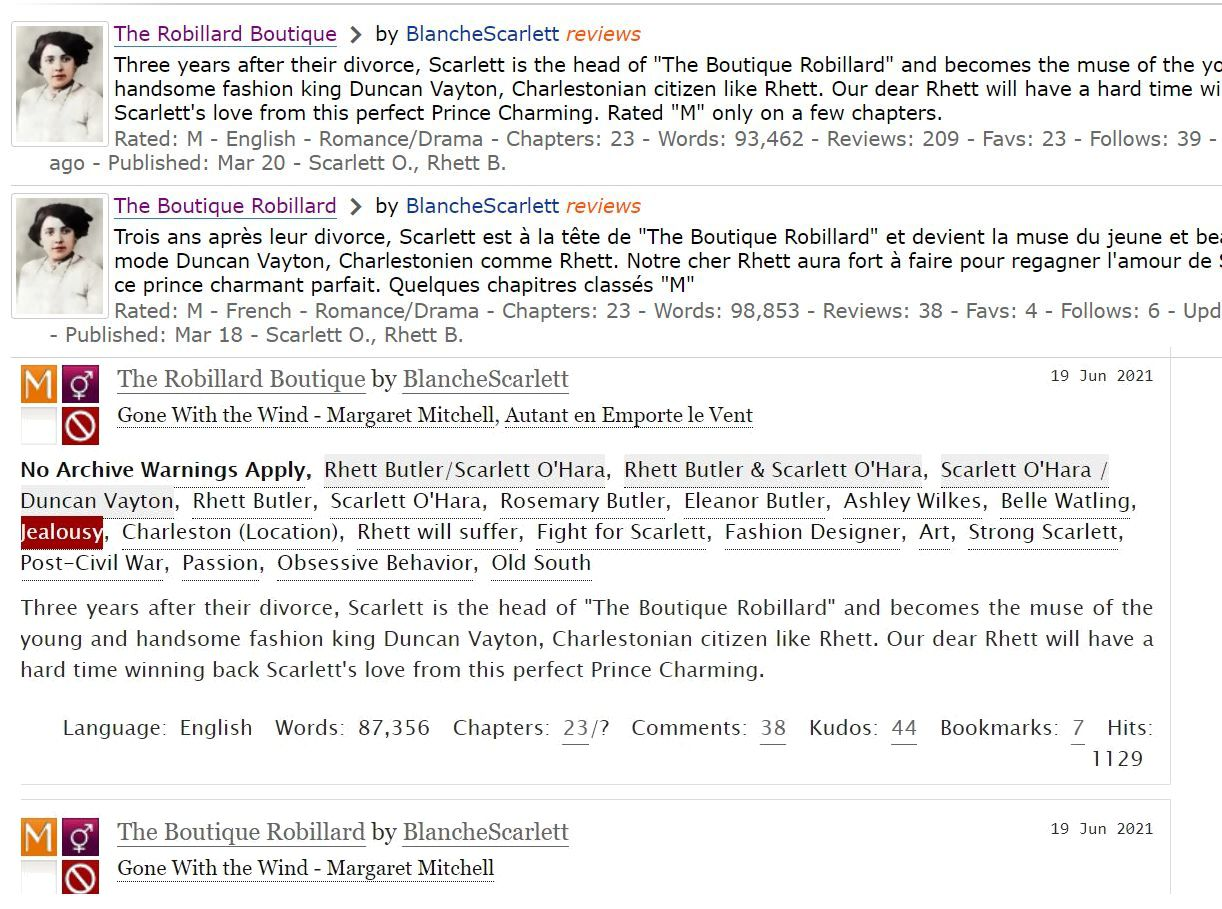 Reviews of readers (Part 2) of my GWTW fanfiction The Boutique Robillard on fanfiction.com and Ao3
