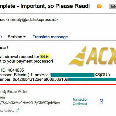 My No58 Withdrawal proof from AdClickXpressCrypto