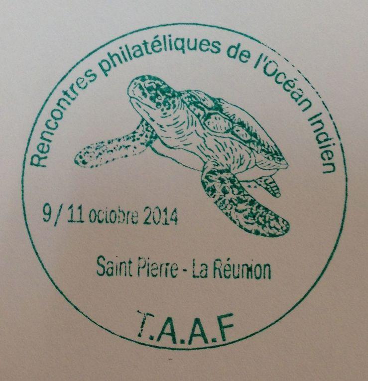 1:TAD Premier Jour délivré à Paris au Carré d'Encre. Ce cachet n'était pas annoncé dans la presse philatélique , ni par La Poste. 2: TAD des TAAF. 3: Cachet souvenir en vert des RPOI. 4: Enveloppe souvenir du Permier Jour et des RPOI.
