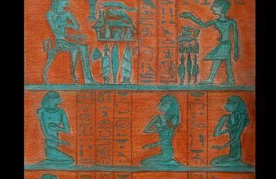 Dessin aux crayons pastels sur toile - Stèle de SENBI et sa famille