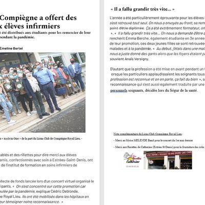 LE LIONS CLUB DE COMPIEGNE ROYAL LIEU REMERCIE LES ETUDIANTS INFIRMIERS DE COMPIEGNE