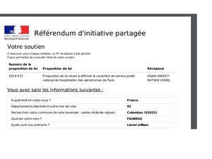 PÉTITION ADP - La plateforme en ligne pour soutenir un référendum d'initiative partagée (RIP) concernant la privatisation des Aéroports de Paris