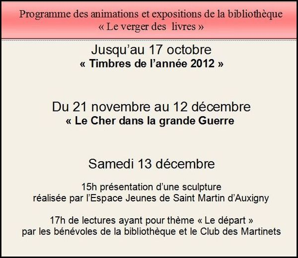 Planning des expositions