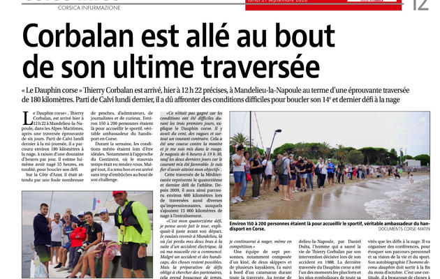 Article Corse Matin du 20 septembre 2020