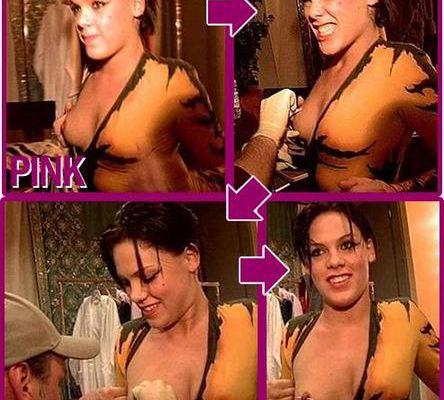 Pink se fait percer le téton !