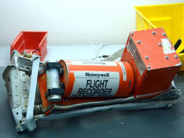In this Russian Emergency Situations Ministry photo, made available on Monday, Nov. 2, 2015, showing Metrojet Airbus A321-200 flight 7K9268 flight recorder on display at an undisclosed location in Egypt