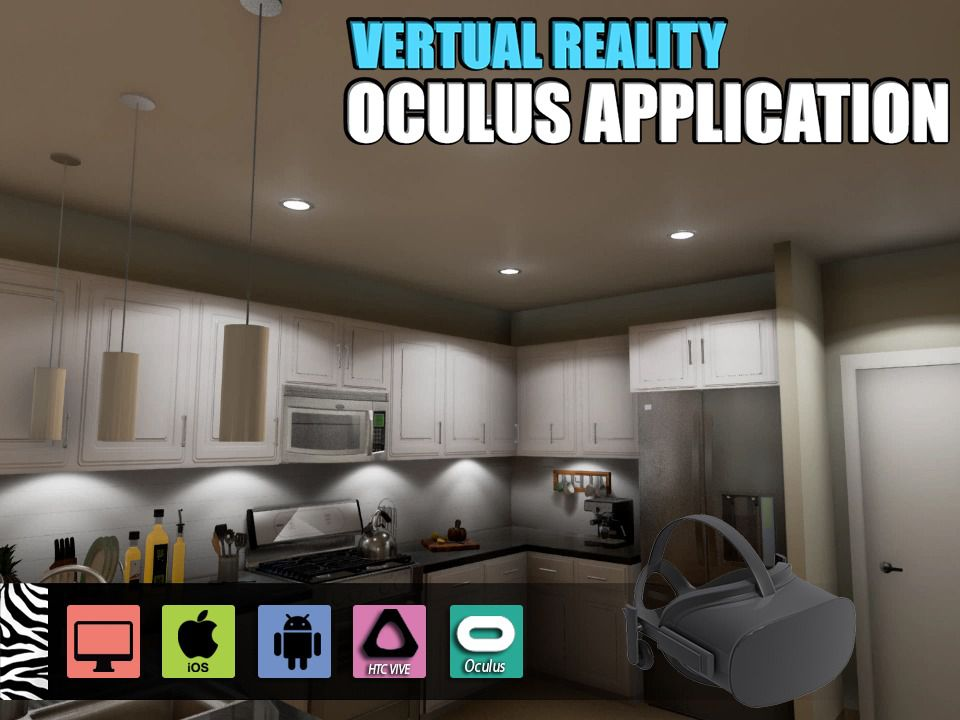 This is a new Virtual Reality Kitchen Design with the help of a Web-Based Virtual Reality Oculus Device. virtual reality apps development did this using my kitchen design in Oculus Device.