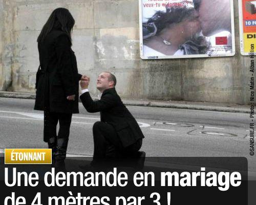 Une demande en mariage de 4 mètres par 3 !