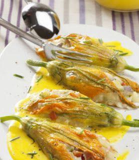 Fiori di zucca farciti con salsa delicata