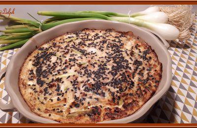 Clafoutis au thon, oignons et champignons