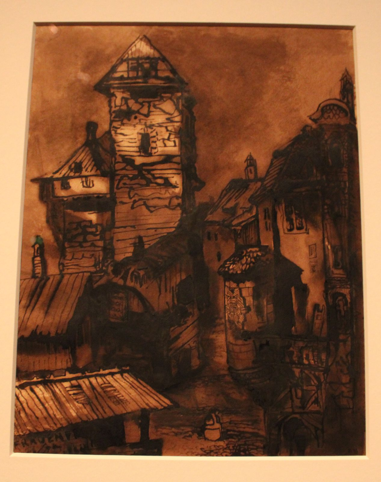 Fravenfeld - 1869 - Encre brune, lais sur papier. Dessin réalisé lors d'un voyage dans le canton suisse de Thurgovie