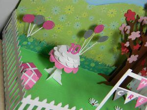 """Mini jardin 3D en papier thème """"goûter d'anniversaire"""""""