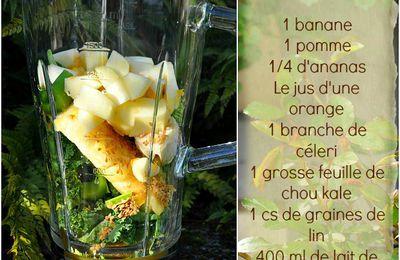 Smoothie à la banane, pomme, ananas...