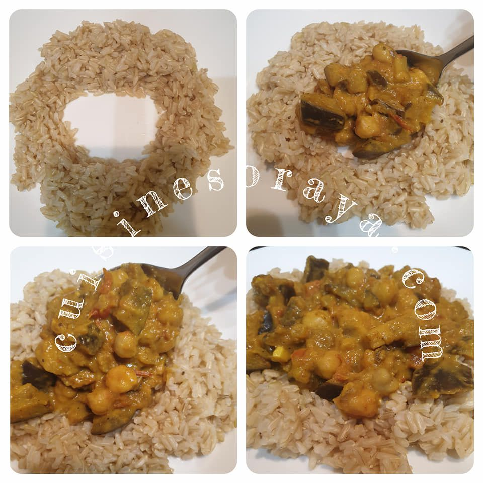 Curry d'aubergine et pois chiche