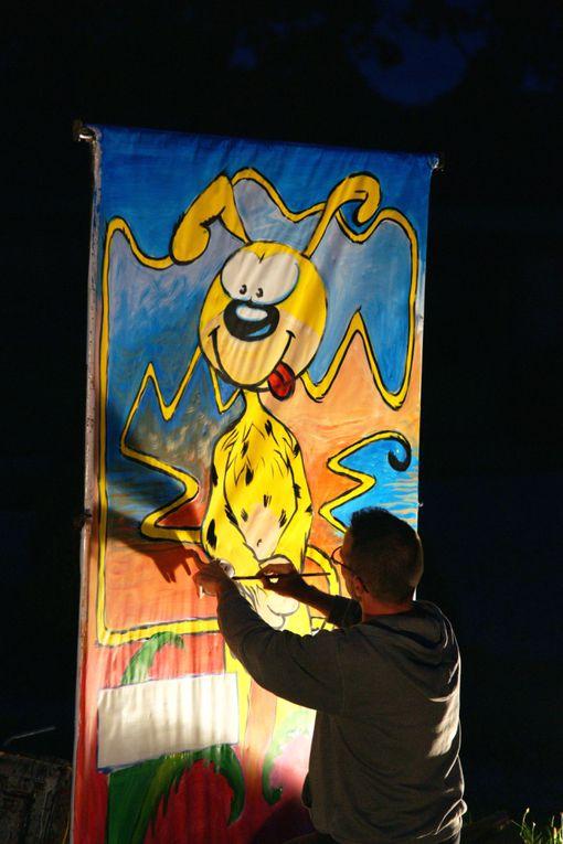 Cinéstival : des animations et un film en plein-air, à la nuit. Les grapheurs d'Organic Comix ont réalisé 5 tableaux sur le thème du Marsupilami en moins de 2 heures. Les tableaux seront exposés au château d'Effiat puis à la Maison Nord Limag