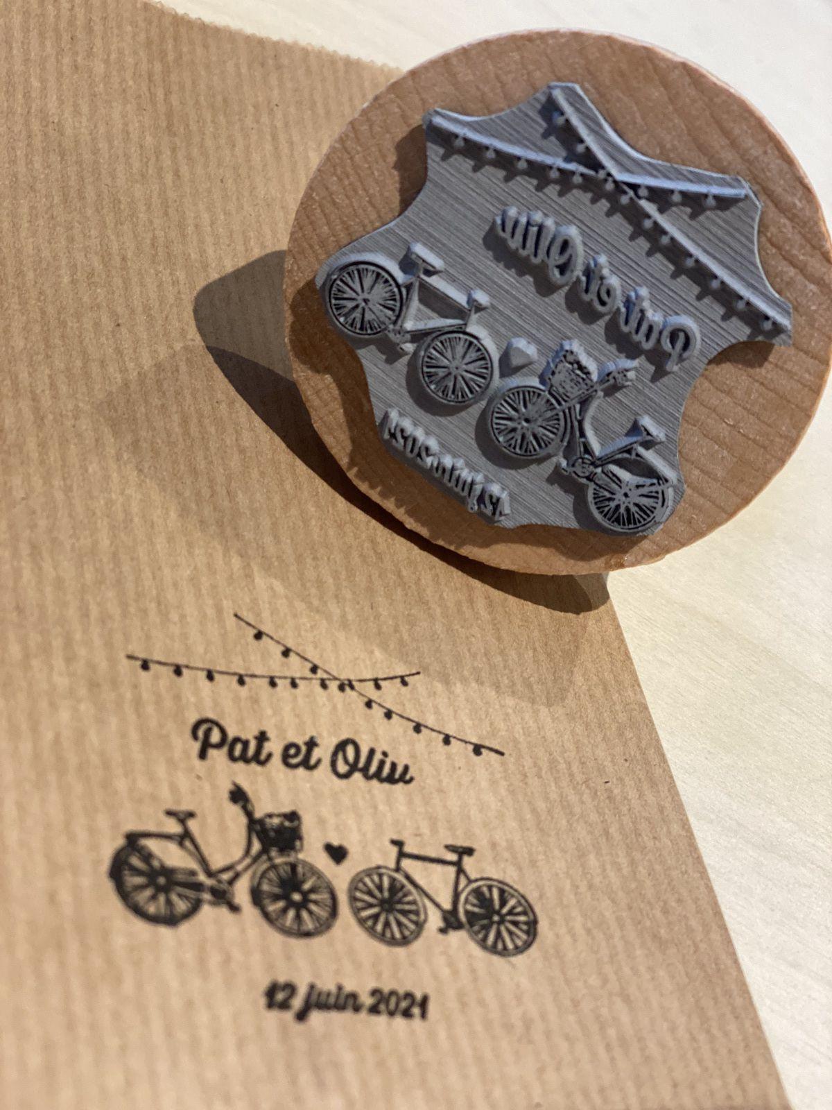 tampon montage support bois thème guinguette vélos #efdcbysoscrap personnaliser encre non fourni