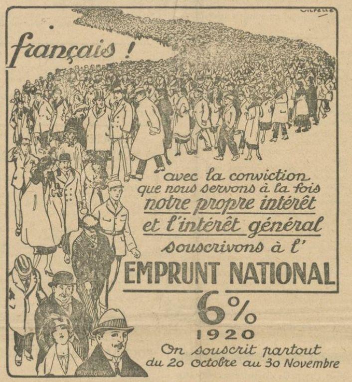 Le Beffroi d'Arras, 21 et 28 octobre, 4, 11 et 18 novembre 1920. Affiche du Crédit Lyonnais, source : Gallica.