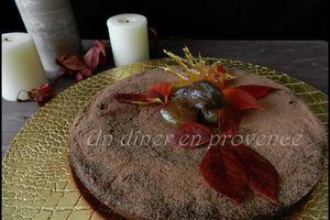 Gâteau à la crème de marron, chocolat et noisettes