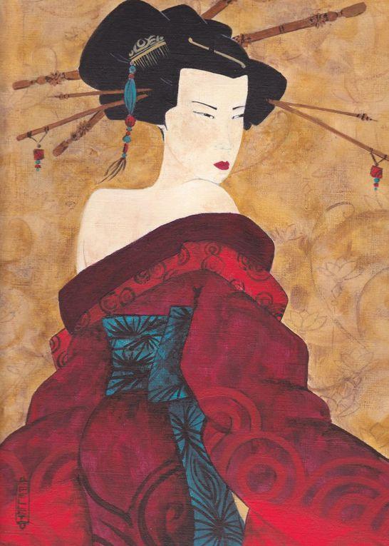 Quelques Acryliques représentant des geishas