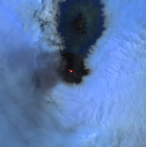 Fuego / Guatemala - image Sentinel-2 bands 12.11 8A from 24.04.2021