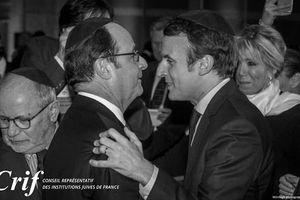 Macron et Hollande s'embrassent au dîner du CRIF
