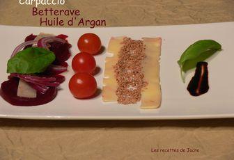 Carpaccio de betterave à l'huile d'argan