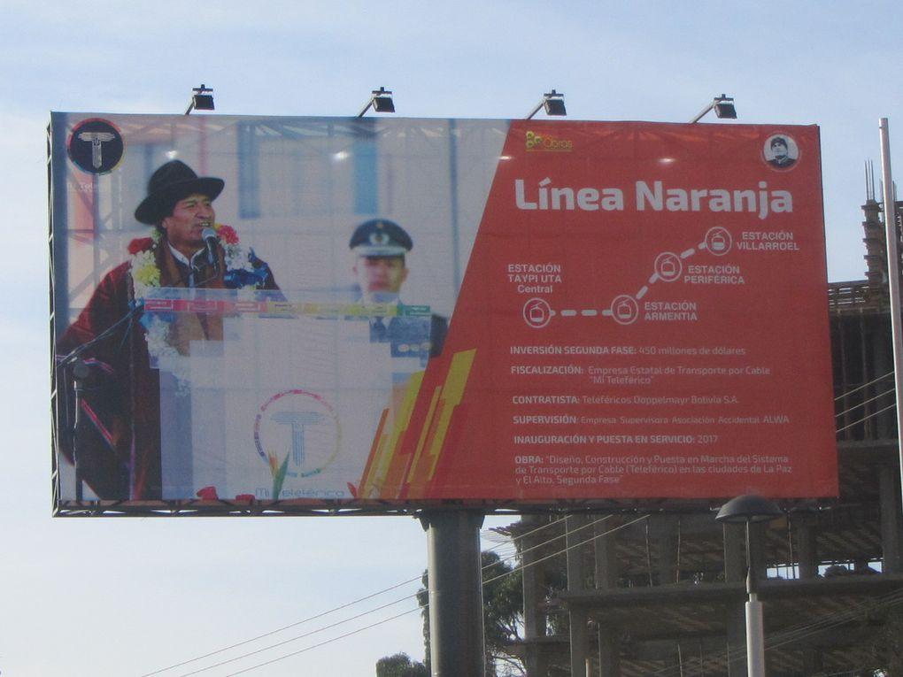 """la paz.....son téléphérique """"suisso autrichien"""", la gare, les beignets, marchande de pains, vues du bus vers Lima, 29 h de bus 1556 KMS......"""