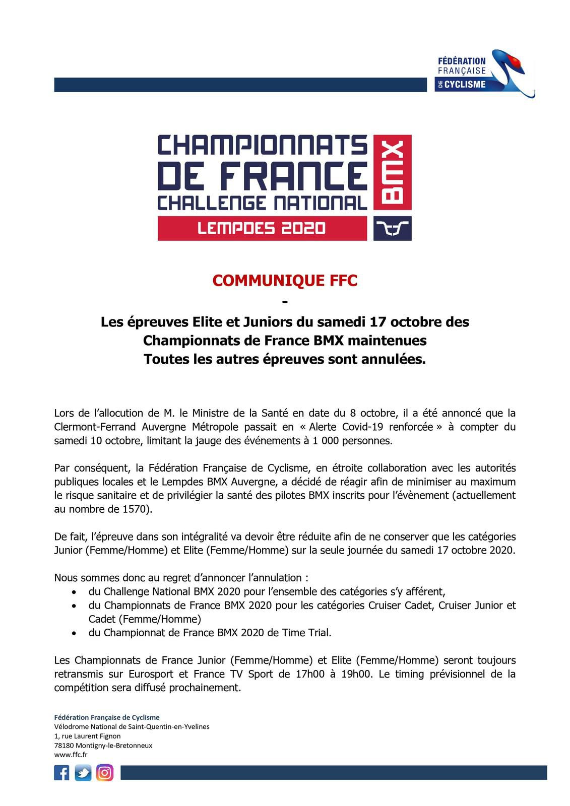 Inscrits : championnat de France à Lempdes. Attention modifications !