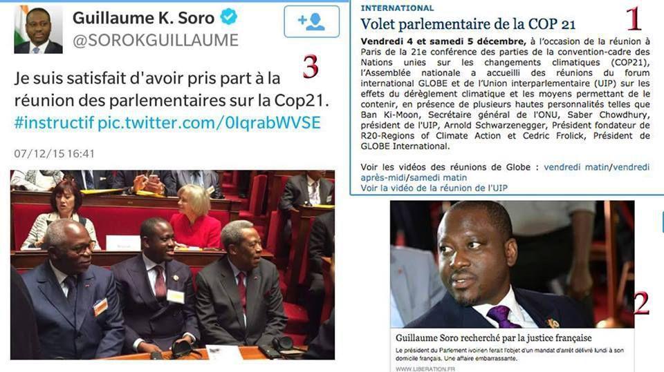 #COP21 / Guillaume Soro le roi du pipeau prétend y avoir été aujourd'hui !