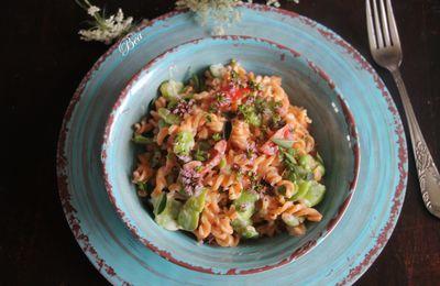 Torsades de lentilles corail aux fèves (recette végétarienne sans gluten)