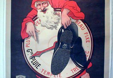 Affiche de Noël, chaussures caoutchouc l'aigle