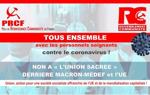 Tous ensemble avec les personnels soignants contre le coronavirus ! Non à l'union sacrée derrière Macron-MEDEF et l'UE – Déclaration commune PRCF – RC