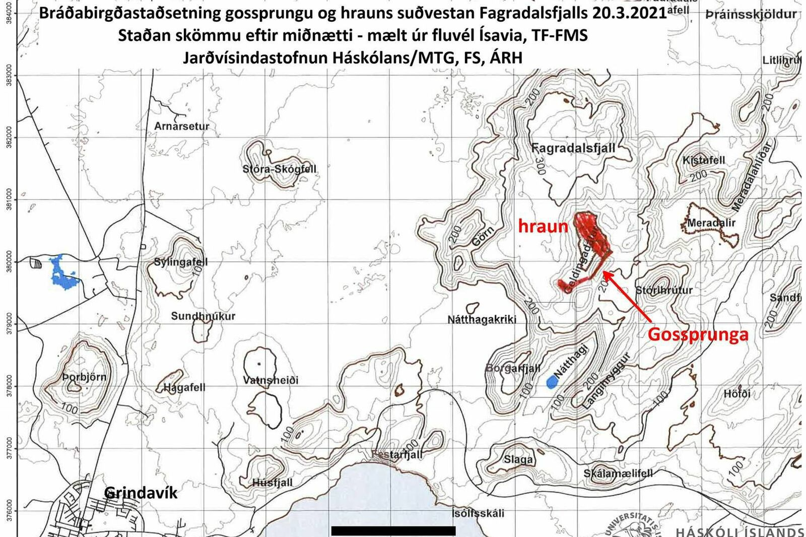 Reykjanes Peninsula - A new map from the Institute of Earth Sciences at the University of Iceland shows the location of the eruption crack on the southeast slopes of Geldingadalur