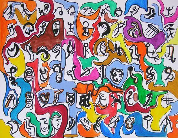 """Album des peintures créées dans le cours """"Peindre en liberté - atelier Yves Desvaux Veeska"""", de septembre 2012 à juin 2013."""