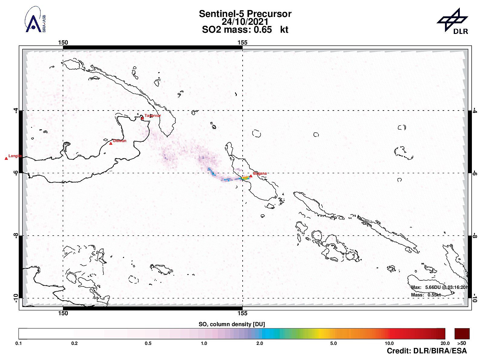 Bagana - improved SO2 signal in the vicinity of Bagana with 5.66DU of SO2 on 24.10.2021 - Sentinel-5P tropomi