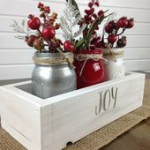 Christmas Centerpiece, Christmas decor, Holiday decor, Rustic centerpiece, Wood box