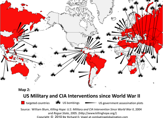 #Geopolitique #USMilitary and #CIA interventions since World War II