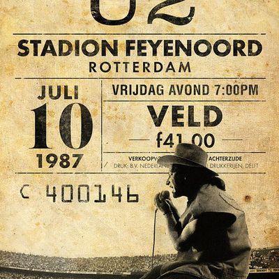 U2 -Affiche concert -Rotterdam -Pays-Bas -Feyenoord Stadium -10/07/1987