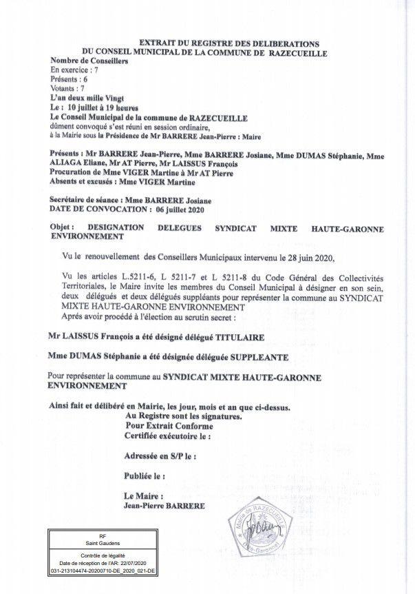 Razecueille délibération 10 juillet 2020 désignation des délégués au SIVOM
