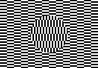 un fond de petits rectangles noirs et blancs horizontaux et un rond des même motifs verticaux.