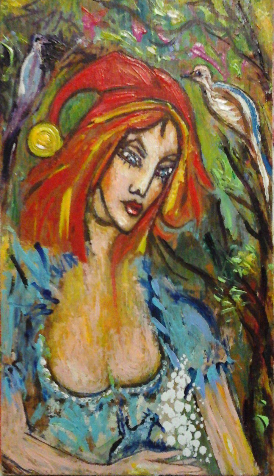 """""""  PETITE FEE AU BONNET ROUGE  """"  Peinture acrylique sur bois. haut 17,5 cm largeur 10 cm."""