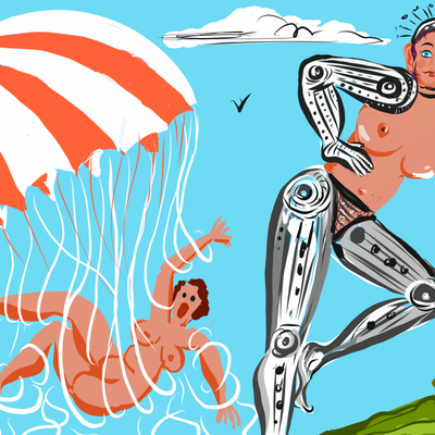 Bionic Woman en parachute.