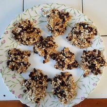 Cookies aux flocons d'avoine et chocolat (sans farine, sans oeuf, sans beurre, sans sucre) de Patchouka...