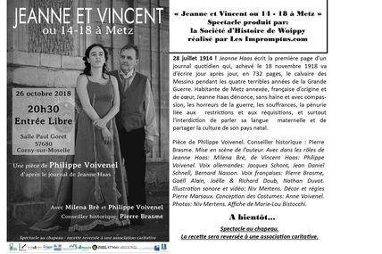 """Corny """"Jeanne et Vincent ou 14-18 à Metz"""" Le 26 octobre prochain à 20h30"""