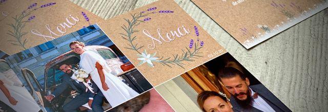 la carte de remerciements assortie au faire part de mariage d'Isabelle et Thomas ... thème champêtre provençal